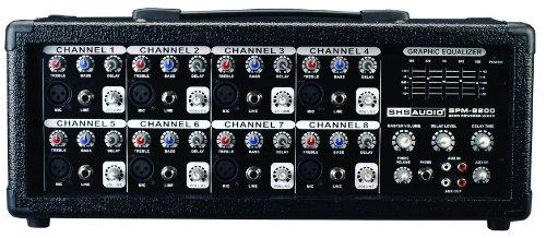 SHS Audio SPM-8200 200-Watt 8-Channel Powered Mixer, Black