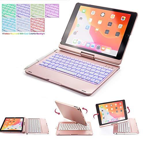 SsHhUu Keyboard Case for iPad 2018 (6th Gen) - iPad 2017 (5th Gen) - iPad Pro 9.7 - iPad Air 2 & 1, 360° Rotating hard cover with 7 Backlight Wireless Bluetooth keyboard - Auto Sleep/Wake, RoseGold