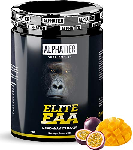 ALPHATIER EAA Powder Vegan 500g - Highest DOSE - All Essential Amino acids - Mango-Passion Fruit Flavor EAAs - Essential Aminos