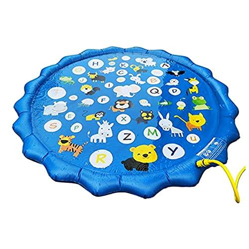 AIRUYI Kinderwasserspraykissen, aufblasbares Spielzeug, Spielkissen, Alphabet Muster, Wasserkissen, Sommer Outdoor Games Garten Spray Spielzeug zum Lernen, aufblasbare Wasser Spielzeug für Säuglinge K
