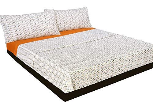 Montse Interiors Juego de sábanas Estampado (Zig-Zag Naranja, para Cama de 90x190/200)