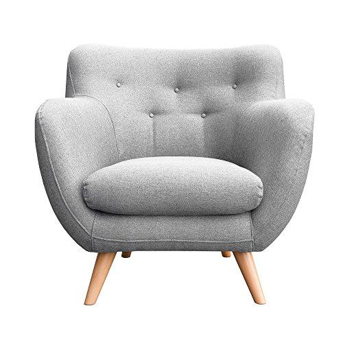 myHomery Sessel Adele gepolstert - Polsterstuhl für Esszimmer & Wohnzimmer - Lounge Sessel mit Armlehnen - Eleganter Retro Stuhl aus Stoff mit Holz Füßen - Hellgrau | Sessel