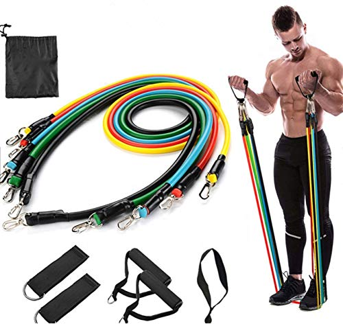 Dcodes Resistance Bands Fitness, 11pc kit for Exercise Training Outdoor, Indoor Includes Door Anchor, Handles and Leg Ankle Straps for Home Work Out Outdoor Work Out Total Body Fitness Exercise