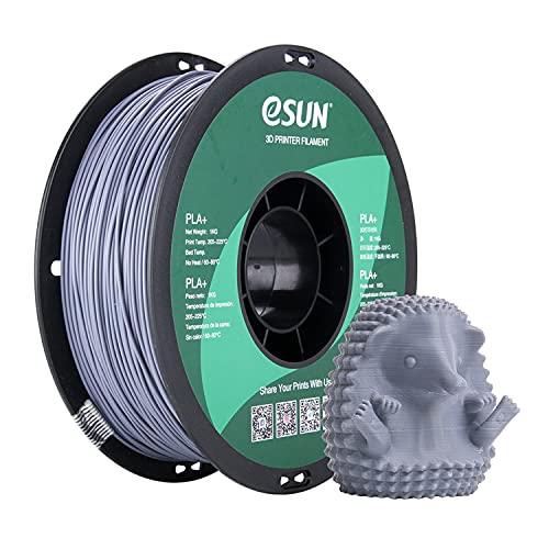 eSUN Filamento PLA Plus 1.75mm, Stampante 3D Filamento PLA+, Precisione Dimensionale +/- 0.03mm, Bobina da 1KG (2.2 LBS) Materiali di Stampa 3D per Stampante 3D, Grigio