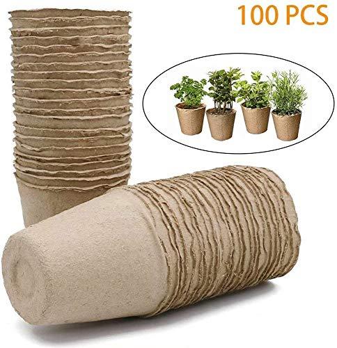 PXD913 100 Piezas Macetas de guardería,Maceta vivero Maceta Bolsa de Semillas de Flores en Maceta,Bandeja de Taza de vivero de Plantas de Maceta de Pulpa de Papel Biodegradable. (6cm)