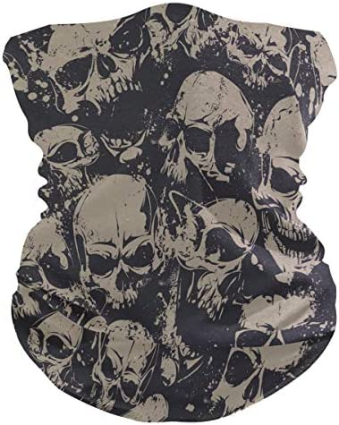 VOUSME Skulls Scary Pattern Black Face Masks Cloth Neck Gaiter Face Cover Scarf Washable Breathable product image