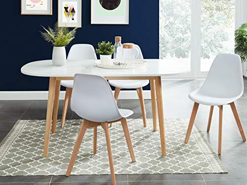 HOMIFAB Table à Manger scandinave Blanc et Bois 160x80x75 cm - Collection Erika.