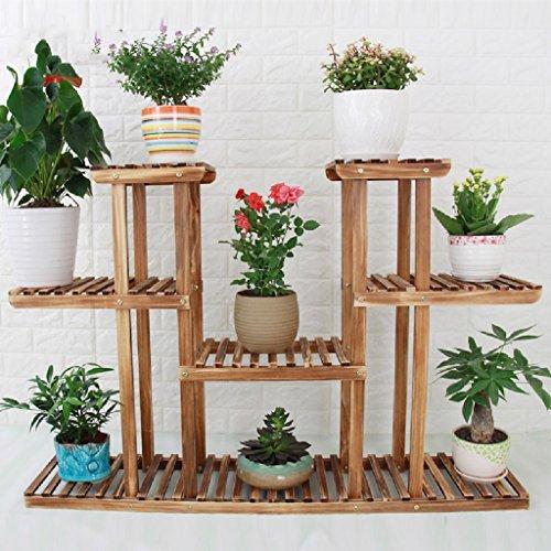 Salon de fleurs en bois massif Balcon Pot de fleurs Ensemble à plusieurs étages Plante intérieure Flower Frame 25 * 80 * 120cm
