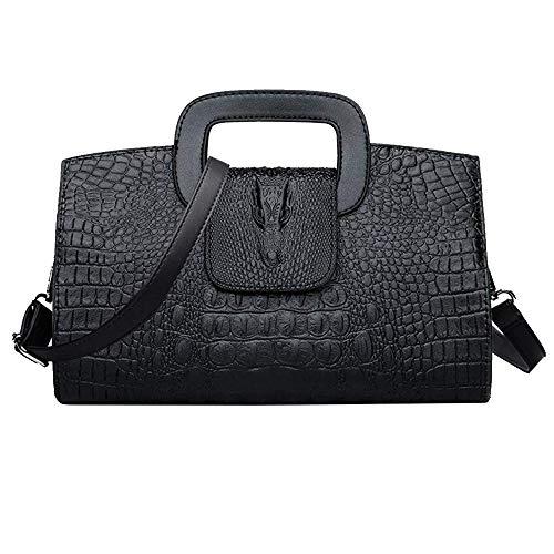 Milya Damen Leder Vintage Handtasche Clutch Henkeltasche Abendtasche Umhängetasche Ledertasche Schultertasche mit Schulteriemen (Krokodil Muster Schwarz)