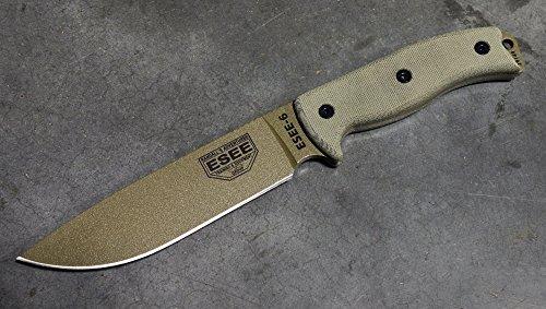 ESEE Knives 6P Fixed Blade Knife w/Molded Polymer Sheath (Dark Earth Blade/Black Sheath)