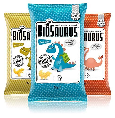 Biosaurus Baked Organic Corn Snack für Kinder - 12x50g (Mix Box) - Gebackener knusprige Bio-Snack aus Mais, Nicht Frittiert | Low Fat, Glutenfrei, BIO, keine Chemie | - 12x50g (Mix Box)