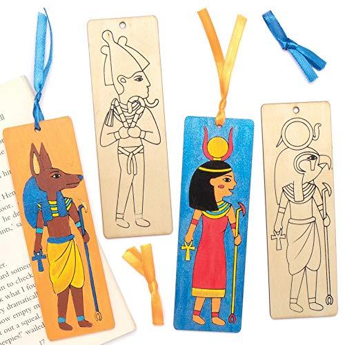 Baker Ross AT853 Ägyptische Lesezeichen Bastelset aus Holz - 8er Pack, für Kinder zum Basteln und Dekorieren, Ideal für den Kindergeburtstag