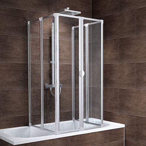 Schulte Duschabtrennung faltbar für Badewanne 70 - 80 cm, einfache Montage zum Kleben, Kunstglas Softline hell, alunatur, langlebig