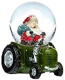 SIKORA SK01 Kleine Glas Schneekugel für Kinder Weihnachtsmann auf dem Traktor D:45mm, Schneekugeln:Weihnachtsmann im Traktor