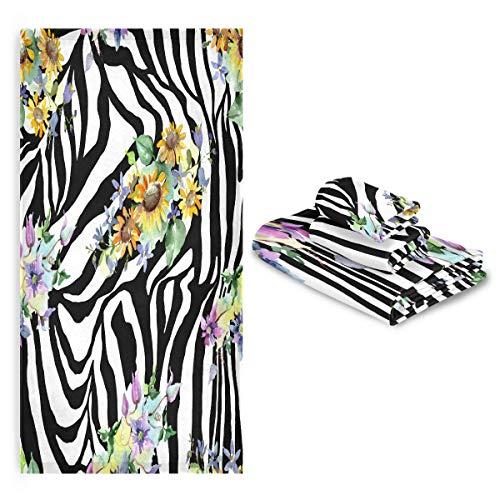 TropicalLife FELIZM - Juego de 3 toallas de baño con estampado de cebra, diseño de flores, altamente absorbente, toalla de baño suave para baño y cocina