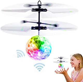 RC Flying Ball Toys Infrared Induction Drone Hand Control Helicopter with Shining LED Lights Disco USB Rechargeable Fun Novelty Toys for Kids Teenagers Indoor and Outdoor Games