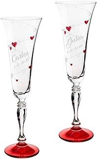 comprar comparacion Copas para boda con corazones rojos, GRABADAS con el nombre de los novios y la fecha (Presentación en Baul)