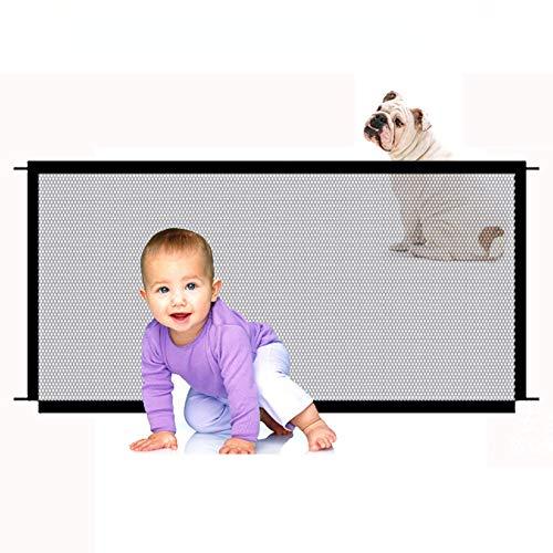 Susany Puerta Seguridad Barrera Seguridad bebés, niños y Perros pequeños,Puerta de Malla Transparente, Puerta de Seguridad para Mascotas 110 * 72 cm