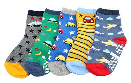 KID'S BASIC Confezione da 5 calzini antiscivolo in cotone per bambini (auto aeree stelle) Car Planes Età 4-6