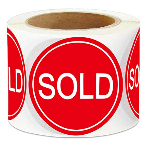 "Sold Stickers Round 500/Roll - 2"" Red Sold Out Sticker Labels - Retail Sale Pricing Inventory Control Retail Stickers (Red)"