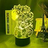 Luces de anime LED 3D, Roronoa Zoro Figura LED noche luz,Decoración de dormitorio de niños anime japonés de una pieza de luz de noche regalo fresco lámpara de noche LED luces de noche
