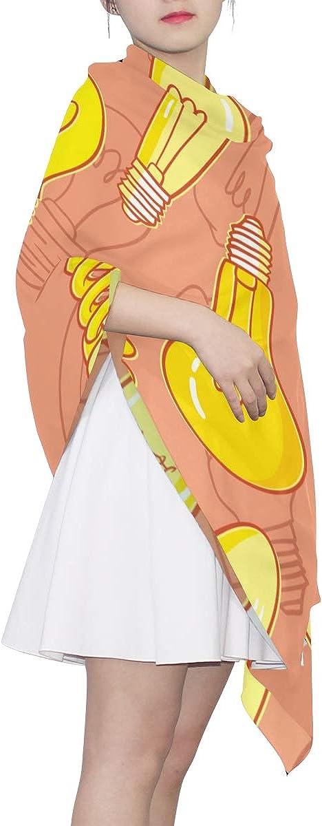 Wrap Scarf Shawl Art Cartoon Shining Bulb Light Fancy Scarfs For Women Lightweight Soft Scarf Lightweight Print Scarves Lightweight Fashion Scarf Scarf For Women Lightweight