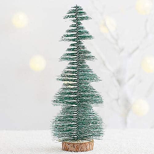 YHSW Kunstmatige Mini Kerstboomminiatuur Sisal Frosted Boom Melkfles Borstel Voor Home Desktop Decoratie groen