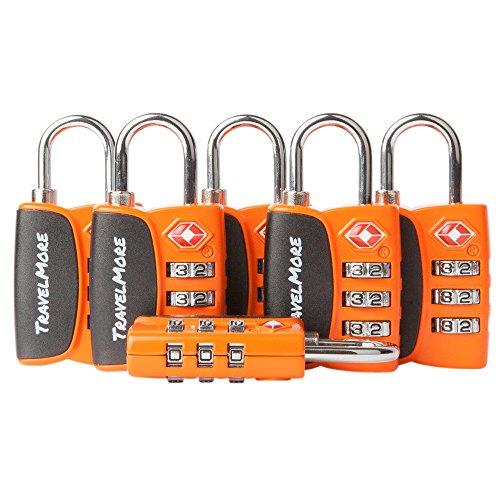 6er-Pack Open Alert Indikator TSA-Approved Gepäckschloss 3-stellig für Reise, Koffer & Gepäck (Orange)