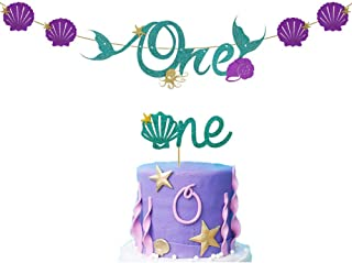 Palksky Mermaid ONE birthday banner with one cake topper/1st First Birthday High Chair Banner Decoration set for Baby shower Under the sea Oecan Party Supplies