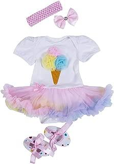 Newborn Baby Girl 1st Birthday Outfit 3D Ice Cream Romper Tutu Dress+Headbands+Shoes 3Pcs Clothes Set