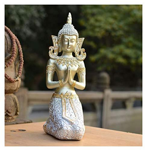 Praying Buddha Statue, Meditating Buddha Serene Decorative Figurine for Home Office Desktop Garden Decorations, Yoga Zen Decor (Color : Silver)