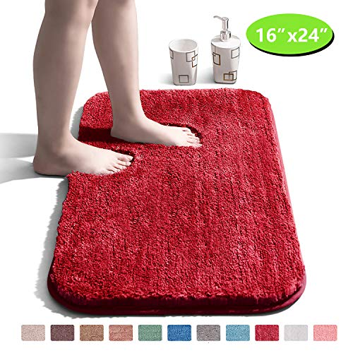 Bathroom Rug Non Slip Bath Mat for Bathroom Water Absorbent Soft Microfiber Shaggy Bathroom Mat Machine Washable Bath Rug for Bathroom Thick...