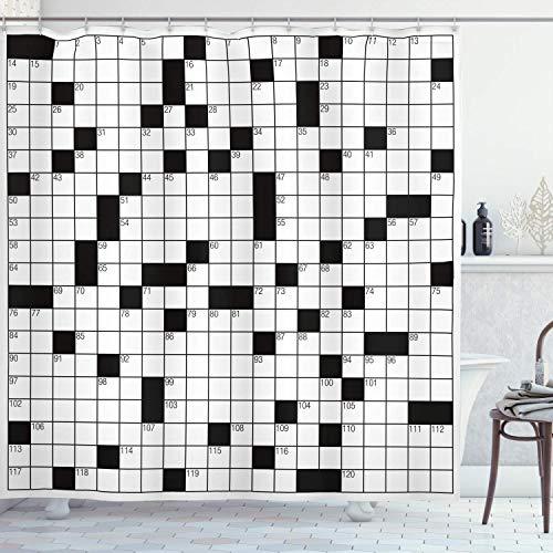 EdCott Klassische Kreuzworträtsel mit schwarzen und weißen Rahmen und Zahlen Stoff Bad Muster Dekoration nach Hause leicht zu reinigen geeignet für Bad Bad Hotel Vorhänge weiß und schwarz