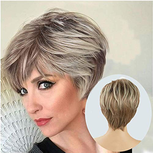 Lady Miranda Brown Mixed Blonde Color Short Layer Nature Curly with Bangs Synthetic Wig Heat Resistant Weave Full Wigs for Women (Brown-Blonde)