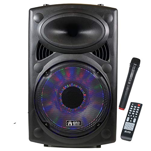 EMB Wireless Portable PA Speaker System-1700W High Powered Bluetooth Compatible Indoor & Outdoor DJ Sound Stereo Loudspeaker w/USB SD MP3 AUX 3.5mm Input, Flashing Party Light (PKL15-2ND)