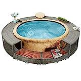 vidaXL Spa Surround Weather Resistant Steel Frame Garden Backyard Patio Hot Tub Surround Grey 111.4' Poly Rattan
