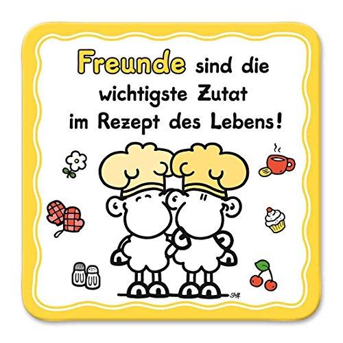 Sheepworld, Gruss & Co - 81035 - Untersetzer Nr. 19, Freunde sind die wichtigste Zutat im Rezept des Lebens!, Kork, 9,5cm x 9,5cm