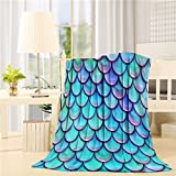 Flannel Fleece Bed Blanket 60 x 80 inch Geometric Throw Blanket Lightweight Cozy Plush Blanket for Bedroom Living Rooms Sofa Couch - Fish Scale Mermaid
