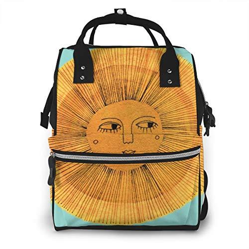 Wickeltaschen-Rucksack, Sonnen-Zeichnung, Gold und Blau, große Kapazität, wasserdicht, Baby-Wickeltasche, Mütterrucksack, Baby-Wickeltasche, Multifunktions-Reisetasche