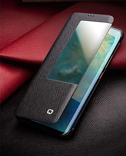 Mode Echtes Leder Flip Hülle für Huawei Mate 20 RS Luxus Handbuch Hülle mit Intelligentem Fenster für Huawei Mate 20 Pro/Mate 20
