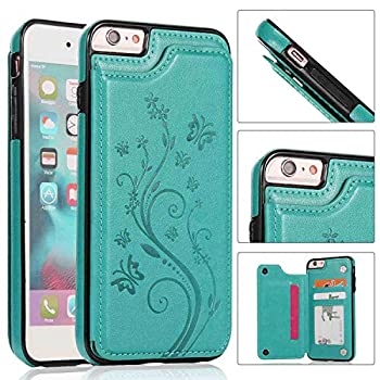 iPhone 6S Plus Wallet Case,iPhone 6 Plus Slim Fit Wallet Case for Women/Men,Aprilday Premium iPhone 6 Plus Leather Case [Butterfly Flower] Durable Cover with Card Holder&Kickstand -5.5in B+Green