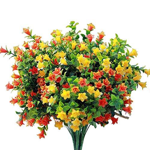 Artificial Flowers Fake Outdoor Flower Arrangements Cemetery Flower Decor Plastic UV Resistant for Garden Table Centerpieces 4 Bundles (Colorful)
