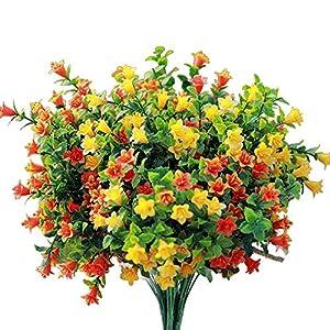 Sprif Artificial Flowers Fake Outdoor Flower Arrangements Cemetery Flower Decor Plastic UV Resistant for Garden Table Centerpieces 4 Bundles
