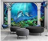 Mural de Pared Papel Tapiz 3D Mundo Submarino Océano Acuario Columna Romana Murales de Pared Papel Tapiz Sala de Estar Dormitorio TV Fondo Papel Tapiz Decoración Arte-430cmx300cm