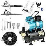 Compresor Aerógrafo Profesional Kit de Aerógrafo Doble Acción Kit con 2 Aerógrafos de Doble Acción de 0.3 mm de Diámetro y Compresor de aire con Ventilador de Refrigeración