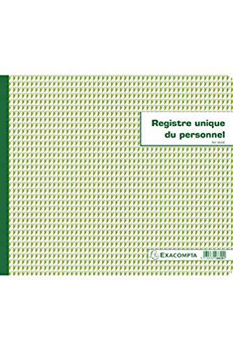 Exacompta - Réf. 6620E - 1 Piqûre 27x32cm - Registre unique du personnel (salariés et stagiaires) - 56 pages