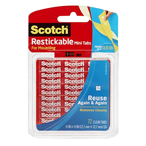 Scotch Restickable Tabs, 12.7mm x 12.7mm (R103) - 1 pack, 72 tabs per pack