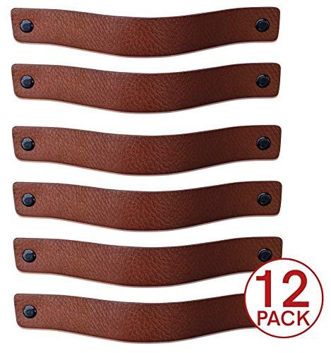 Ledergriffe Möbel | Cognac - 12 Stück | 20 x 2,5 cm | Ledergriff für Schränke, die Küche und Tür | Lieferung mit Schrauben in 3 Farben