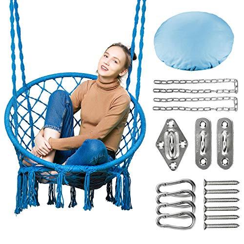 Greenstell Makrameschommel met hangsets, hangstoel van katoenen koord, comfortabele stabiele hangstoel voor binnen, buiten, huis, terras, binnenplaats, tuin Standardgröße(80cm*60cm) blauw