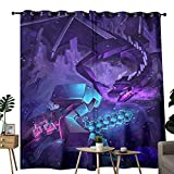 Cortinas de bolsillo para barra para sala de estar Minecraft ender Dragon papel pintado utilizado para oscurecer cortinas opacas en la habitación de aislamiento térmico de 157,5 x 182,8 cm